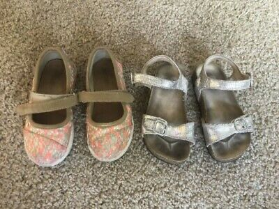 $10 • Buy Toddler Girl Shoes Set Of 2 Silver Sandals Stride Rite& Multicolored Toms Size 9