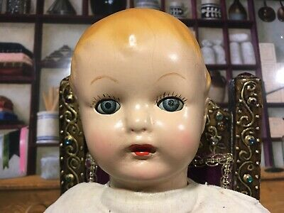 """$24 • Buy 18""""Antique Composition Early Ideal Baby Mama Doll Tin Eyes"""