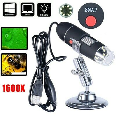 1600X 8 LED USB Microscope Digital Electronic Magnifier HD Camera For PC Tablets • 11.99£