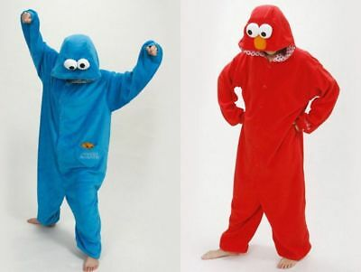Adult Sesame Street Cookie Monster Blue&red Elmo Costume Pajamas Onesie10 Outfit • 15.53£