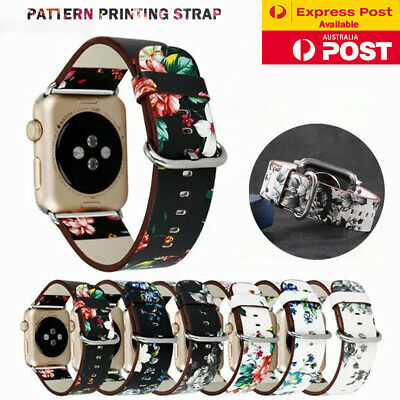 AU12.99 • Buy For Apple Watch Band Series SE 6 5 4 3 2 Floral Leather IWatch Strap Wristband