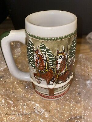 $ CDN19.62 • Buy Budweiser Beer Stein Ceramarte Covered Bridge Holiday Series 1984 Clydesdales