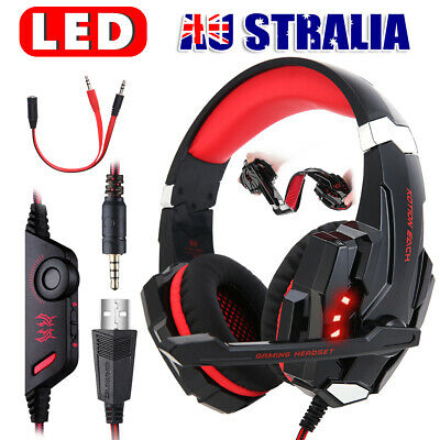 AU49.95 • Buy 3.5mm Red LED Gaming Headset MIC Headphones For PC Laptop PS4 Xbox One 360