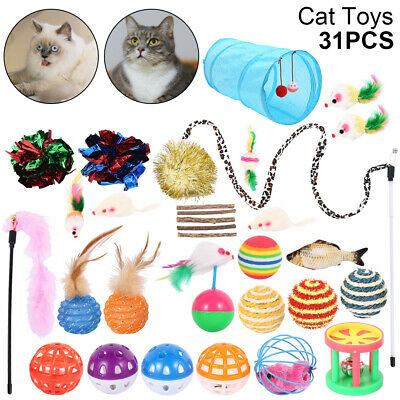 AU20.99 • Buy 31/22 Bulk Cat Toys Kitten Rod Mouse Feathers Bells Ball Fur Scratch Teaser Rat