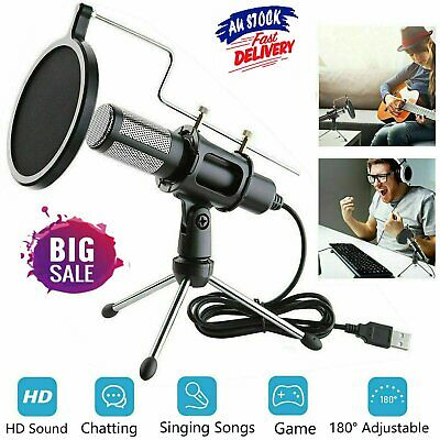 AU30.96 • Buy Condenser USB Microphone W/ Tripod Stand For Chat Studio Recording Computer Mic
