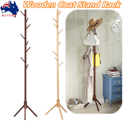 AU32.86 • Buy Wooden Coat Stand Rack Clothes Hanger Hat Bag Umbrella Stand Tree Style 8 Hooks