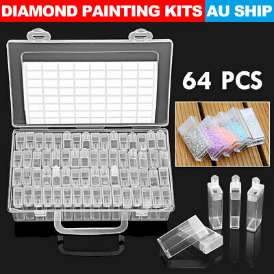 AU19.95 • Buy 64 Slots Bottles Diamond Painting Storage Box Kit Art Nail Accessories Case New
