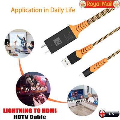 TV Projector HD 1080P Lightning To HDMI Converter Cable For IOS IPhone,Plug&Play • 7.85£