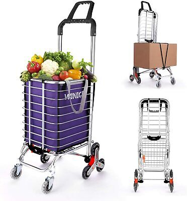 $46.99 • Buy Folding Shopping Carts Grocery Laundry Cart With Swivel Wheels Lightweight Stair
