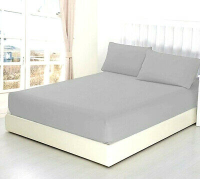 100%  Cotton Fitted Sheet 200 Thread Count Single Double King Super King GREY  • 6.99£