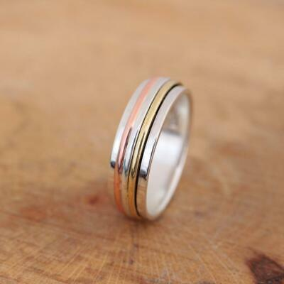 925 Sterling Silver Brass Copper 3 Tone Spinning Worry Band Ring 7mm Thumb • 16.95£