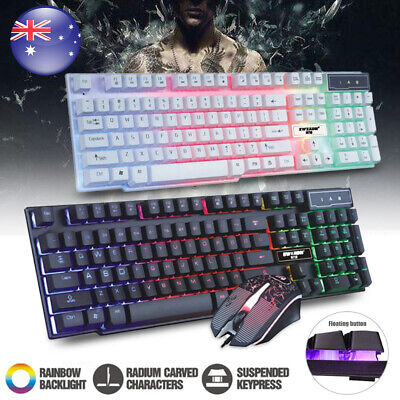 AU26.89 • Buy Pro Gaming Keyboard And Mouse Set Rainbow LED Wired USB For PC PS4 Xbox One 360