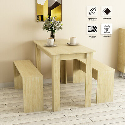 Dining Table And Chair Set Wooden Square Table 2 Bench Modern Kitchen Furniture • 84.90£