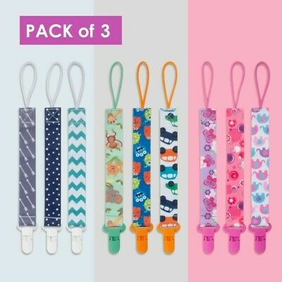 UK 3Pack Lovely Dummy Clips Baby Pacifier/Soother Clips Also Fits Teething Toys • 5.99£