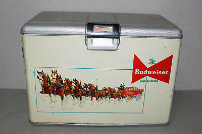 $ CDN483.67 • Buy Vintage 1950's Budweiser King Of Beers Clydesdale Graphic Metal Cooler
