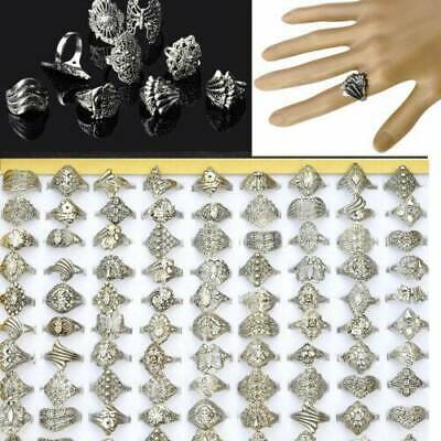 $ CDN21.55 • Buy 100pcs Wholesale Lots Jewelry Mixed Style Tibet Silver Vintage Rings Free Ship