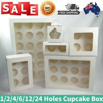 AU21.98 • Buy Cupcake Box 1/2/4/6/12/24 Holes 5-100x Window Face Cake Boxes Gift Cupcake Boxes