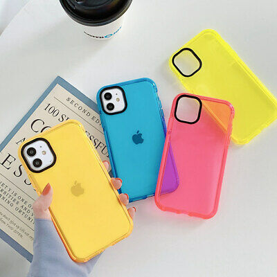 AU7.99 • Buy For IPhone 11 Pro Max XS XR 7 8 Plus Clear Neon Fluorescent Soft TPU Case Cover