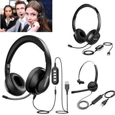 Mpow USB 3.5mm Wired Computer PC Headset Headphones W/ MIC For Call Centre Skype • 20.01£