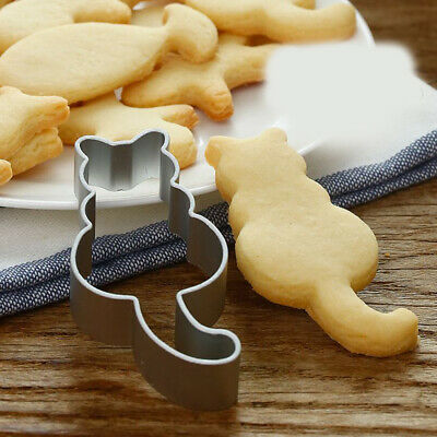 2Pcs Cute Cat Shapes Biscuit Mould Stainless Sandwich Cutter For Kids Adults • 3.79£