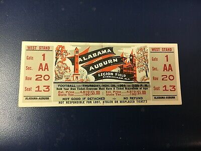 $107.50 • Buy Orig 1964 IRON BOWL ALABAMA VS. AUBURN COLLEGE FOOTBALL GAME FULL, UNUSED TICKET