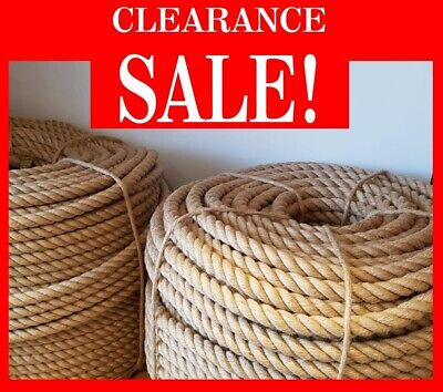 SALE HQ 100% Natural Jute Rope Cord Braided Twisted Boating Sash Garden Decking • 5.99£
