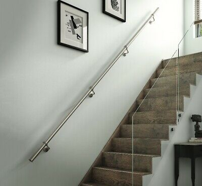 £89 • Buy Rothley Brushed Stainless Steel Easy Fit Staircase Handrail Banister Kit 3.6m