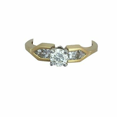 AU681.56 • Buy 14K Yellow Gold Round Diamond Engagement Ring