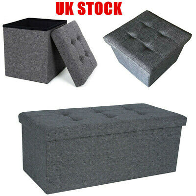 Folding Ottoman Storage Box Pouffe Seat Stool Home Chair Footstool Bench Seater • 11.35£