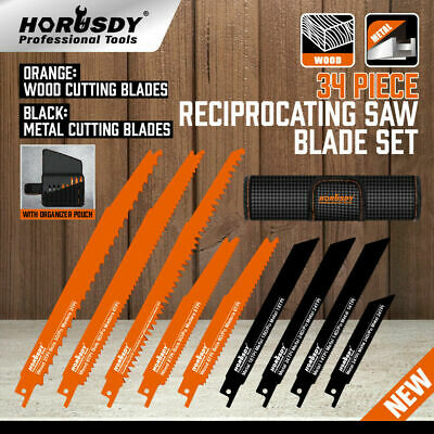 AU36.98 • Buy 34Pc Reciprocating Saw Blade Set Wood Metal Sheet Cutting 2-24TPI With Pouch New