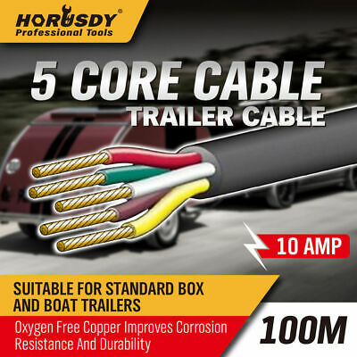 AU113.99 • Buy 100M X 5 Core Wire Cable Trailer Cord Automotive Boat Caravan Truck Coil V90 PVC