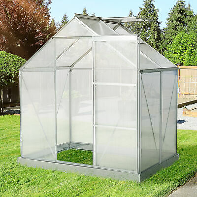 Outsunny 4x6FT Walk-In Greenhouse Polycarb Panels Aluminium Frame W/Sliding Door • 229.99£