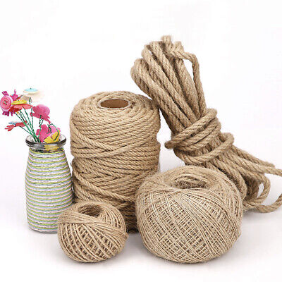 Natural Jute Hessian Rope Cord Twine Braided Twisted Gift Packing Srring Decking • 13.14£