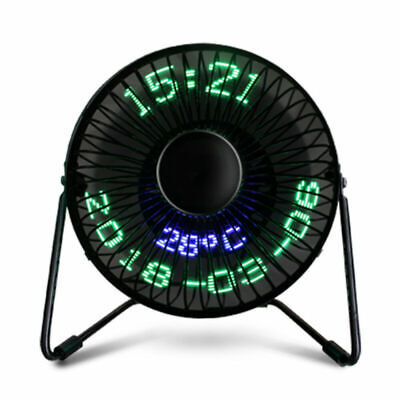AU38.73 • Buy USB LED Clock Cooling Fan Desk Metal Realtime Calendar Temperature Display Fan