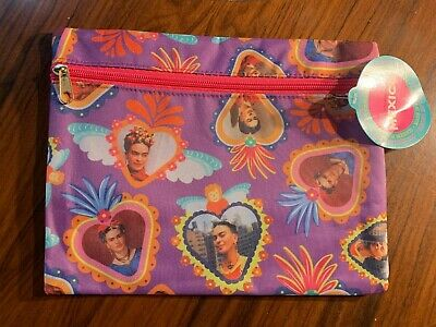 $12.95 • Buy 9 1/2  X 7 1/2  Large Heart Frida Kahlo Vinyl Coin Purse Makeup Cosmetic Bag