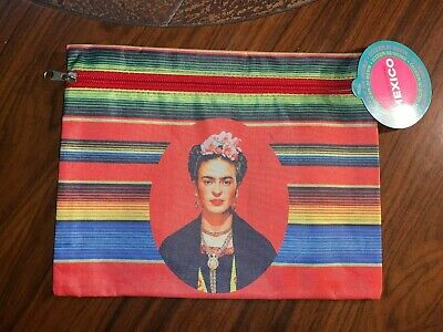 $12.95 • Buy 9 1/2  X 7 1/2  Large Stripe Frida Kahlo Vinyl Coin Purse Makeup Cosmetic Bag