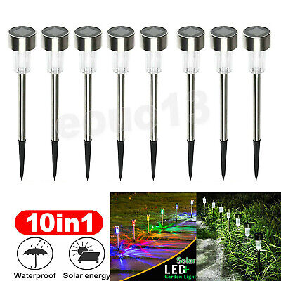 10 X Solar Powered Stainless Steel Led Post Stake Lights Garden Patio Outdoor SS • 11.99£
