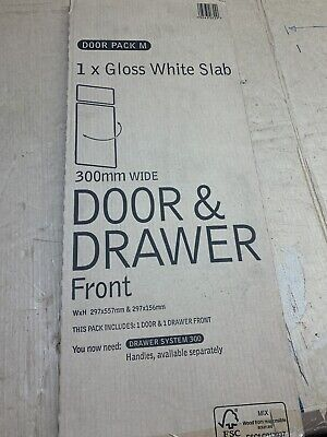 KITCHENS WHITE GLOSS SLAB DOOR FRONT B&Q 300 X 715MM Door & Draw (pack M) • 18£