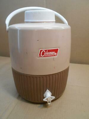$39.99 • Buy Vintage Coleman 2 Gallon Water Jug Drink Dispenser Brown And Tan With Cup ~