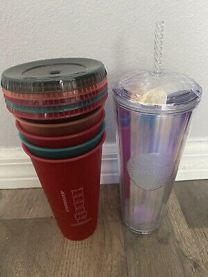 $29.99 • Buy STARBUCKS VENTI PRISM ACRYLIC COLD CUP + SET OF 5 PLASTIC COLD CUPS W/ LIDS NEW!