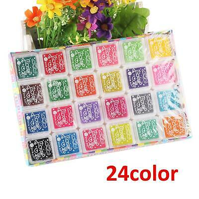 Set Of 24 Colors Rubber Stamps Pigment Ink Pads For Paper Wood Fabric Craft DIY • 3.99£