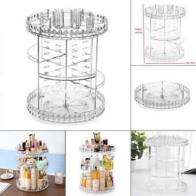 Crystal Makeup Organizer 360°Rotating Storage Cosmetic Perfume Display Stand Box • 10.95£