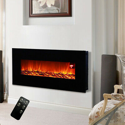 50  Electric Wall Mounted Fire Place Fireplace Heater Log Burning Flame + Remote • 319.95£