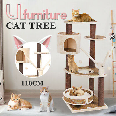 AU95.90 • Buy 110CM Cat Tree Scratching Post Scratcher Tower Condo Toy House Furniture Wood