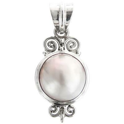 $26.95 • Buy 1 1/2  BIG WHITE MABE PEARL 925 STERLING SILVER Pendant