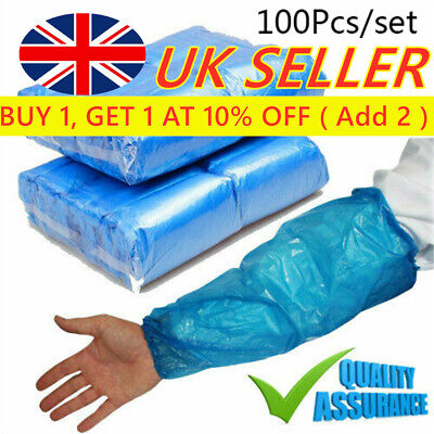 *Disposable Plastic Arm Sleeves Covers BLUE Cleaning Oversleeves Protective* • 3.45£