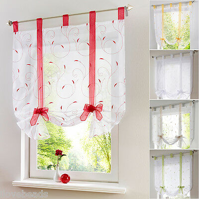 1PCS Tab Top Sheer Kitchen Balcony Curtain Window Blinds Roman Liftable Voile • 10.20£