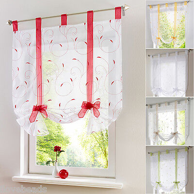 1PCS Tab Top Sheer Kitchen Balcony Curtain Window Blinds Roman Liftable Voile • 8.51£