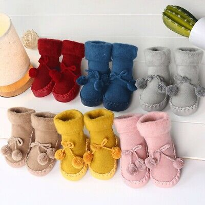 Baby Toddler Kids Anti-slip Crawling Socks Shoes Thicken Slipper Boots Christmas • 5.89£