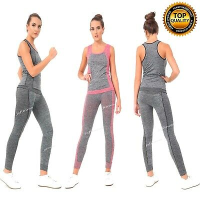 Ladies Gym Wear Fitness Workout Yoga Vest & Leggings Set Sports Clothes Women • 8.95£